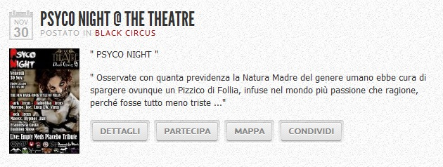 A Milano, Venerdì 30 Novembre 2012, Empty Meds Placebo Tribute Band e Psyco Night by Black Circus al The Theatre