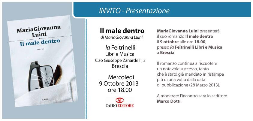 """""""Il male dentro"""" di MariaGiovanna Luini il 9 ottobre a Brescia"""